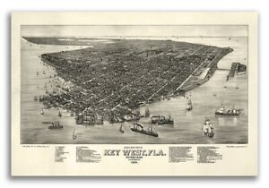 Key West Florida 1884 Historic Panoramic Town Map 16x24