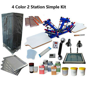 Silk Screen Printing Start Hobby Kit 4 Color Press Drying Cabinet uv Exposure
