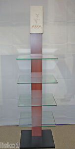 Products 4 level Salon Audio retail Display Wood Rack W glass Shelves