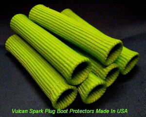 Vulcan Green Heat Protector Sleeve Spark Plug Wire Boots 6 Cyl Made In Usa