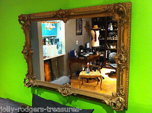 Antique French Rococo Louis Xv Style Ornate Gold Carved Wood Gesso Mirror