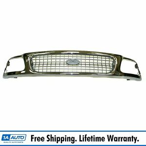 Grille Grill Chrome Silver Front End For 97 98 Ford Expedition F150 F250