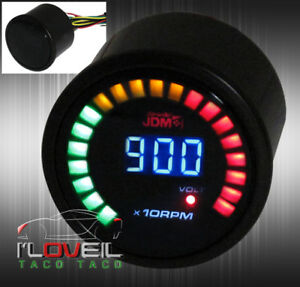 2 Digital Jdm Blue Led Rpm Tachometer Volt 52mm Race Car Gauge Meter Toyota