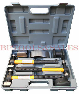 7pc Auto Body Fiberglass Fender Repair Tool Hammer Dolly Dent Bender Auto Kit