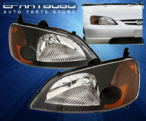 2001 2002 2003 Honda Civic 2 4dr Jdm Crystal Black Amber Headlights Coupe Sedan