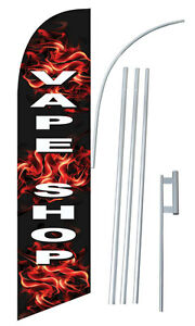 Full Sleeve Windless Deluxe Vape Shop E cigs Complete Bow Feath Swooper Flag Kit