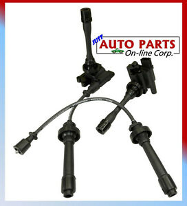 2 Ignition Coils Spark Plug Wires Set Lancer L4 2 0l 2 4l Eclipse 00 08 2 4l