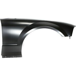 Fender For 2005 2009 Ford Mustang Front Passenger Primed Steel With Antenna Hole