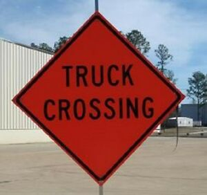 Dicke truck Crossing 36 In Fold And Roll Sign With Stand