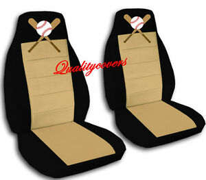 2 Front Black And Tan Baseball Seat Covers Universal Size