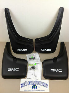 1999 2007 Gmc Sierra Front Rear W o Wheel Flares Molded Mud Flaps Gmc Logo Oem