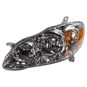 Headlight For 2005 2006 2007 2008 Toyota Corolla Left Chrome Housing With Bulb