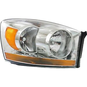 Headlight For 2006 Dodge Ram 1500 2500 3500 Right Chrome Housing With Bulb
