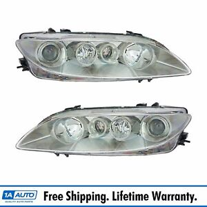 Headlights Headlamps Left Right Pair Set New For 03 05 Mazda6 Mazda 6