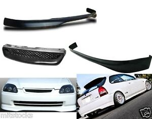 For 99 00 Civic Hatchback 3 Dr Type R Pu Black Front Rear Bumper Lip Grill