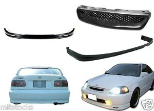 For 1999 2000 Civic 2 4 Dr Pu Black Add On Front Rear Bumper Lip Hood Grill