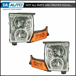 Headlights Headlamps Left Right Pair Set New For 06 10 Jeep Commander