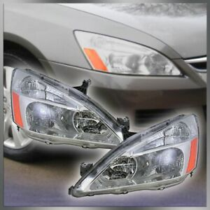 Headlights Headlamps Left Right Pair Set Of 2 For 03 07 Honda Accord New