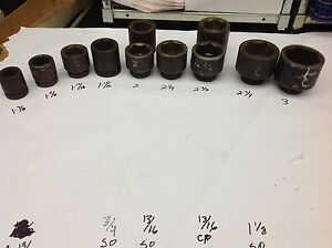 11 Armstrong 1 3 8 To 3 X 1 Drive 6 Pt Impact Socket Assortment D6b1