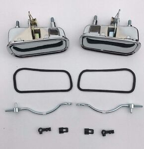 69 82 Corvette Outside Door Handles With Rods Clips Gaskets 10 Pc Kit New