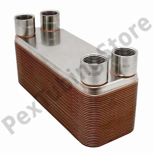 26 plate 3x8 Water To Water Brazed Plate Heat Exchanger 3 4 Fpt 316l St Steel