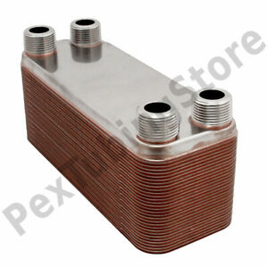 30 plate 3x8 Water To Water Brazed Plate Heat Exchanger 3 4 Mpt 316l St Steel