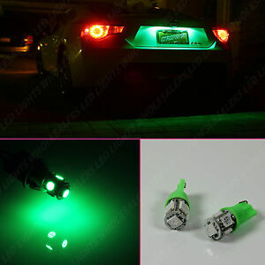 1 Pair Green Led License Plate Light Bulbs Bulb 5smd T10 194 168 W5w Wedge