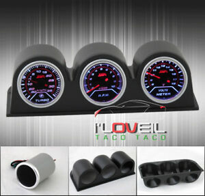 Turbo Boost Tachometer Voltage Meter Gauges Dash Set Pod Holders Case Jdm