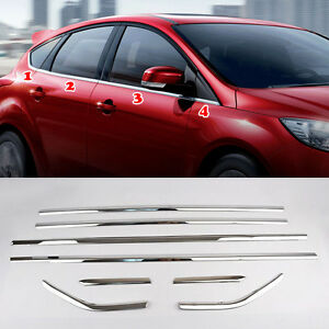 Fit For Ford Focus Hatchback 12 Chrome Door Window Line Sill Cover Trim Molding