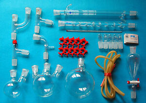 New Advanced Chemistry Lab Glassware Kit With 24 29 Glass Ground Joint free Ship