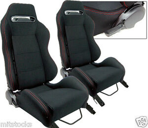 2 Black Cloth Red Stitch Racing Seats Reclinable Sliders Volkswagen New