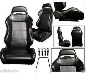 2 Black Leather Yellow Stitch Racing Seat Reclinable Sliders Volkswagen New