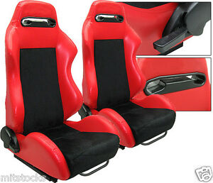 2 Red Black Racing Seats Reclinable Sliders All Pontiac New