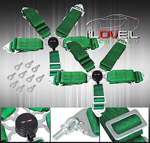 Pair Of 3 Green 5 Point Pt Harness Camlock Racing Seat Belts Miata Mr2 Protege