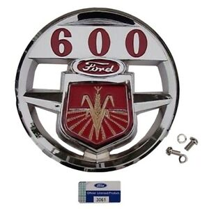 Nca16600a Hood Emblem With Mounting Screws For Original Ford 600 Tractor