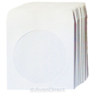 100 Premium mini White Paper Sleeve Window Flap For Mini Cd r Or Mini Dvd Disc