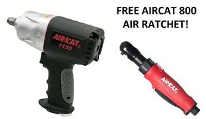 Aircat 1150 1 2 Drive Impact Wrench Gun With Free 1 4 Air Ratchet