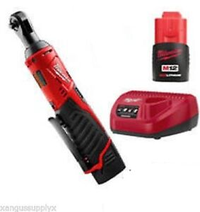 Milwaukee M12 1 4 Drive Ratchet Wrench Variable Speed With Battery Charger