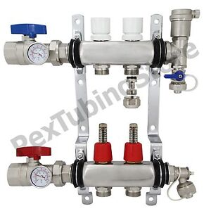 2 branch Pex Radiant Floor Heating Manifold Set Stainless Steel For 1 2 Pex