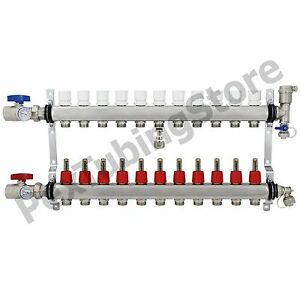 11 branch Pex Radiant Floor Heating Manifold Set Stainless Steel For 1 2 Pex