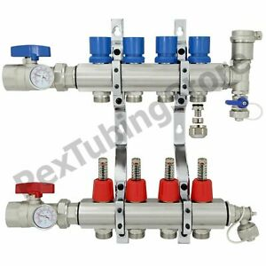 4 branch Pex Radiant Floor Heating Manifold Set Brass For 3 8 1 2 5 8 Pex