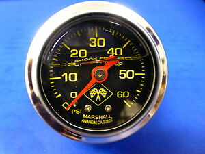 Marshall Gauge 0 60 Psi Fuel Pressure Oil Pressure 1 5 Midnight Chrome Liquid