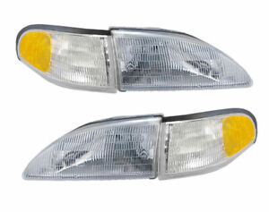 1994 1998 Mustang Stock 4 Piece Front Headlights W Amber Side Markers Lights