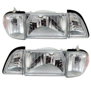 87 93 Mustang 6pc 6 Piece Euro Clear Headlights W Amber Side Markers Sae Dot