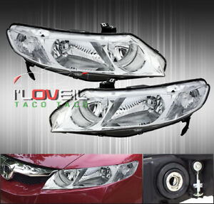 Chrome Clear Replacement Head Lights Lamps Pair For 2006 2011 Honda Civic 4dr