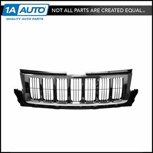 Grille Grill Chrome W Black Bars For 11 13 Jeep Grand Cherokee