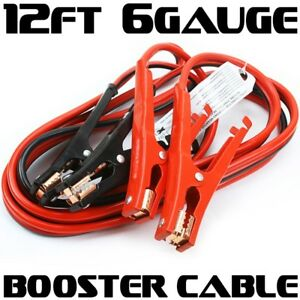 12ft Car Truck Booster Jumper Battery Charging Cable 6 Gauge 500 Amp Jump Power