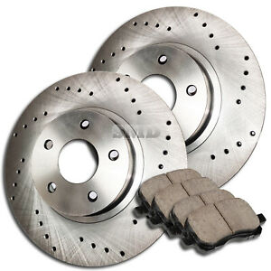 A0242 Front Set Cross Drilled Brake Rotors Ceramic Pads 4wd 4x4