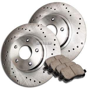 A0322 Fit 1999 Ford Mustang Base Front Cross Drilled Brake Rotors Ceramic Pads