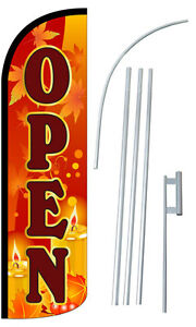 Open Fall Flag Kit 3 Wide Windless Swooper Feather Advertising Sign